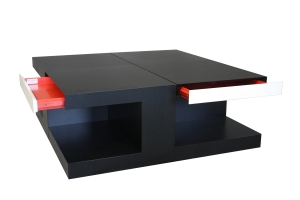 COFFEE TABLES EBONIZED OAK W PAINTED ACCENTS 1593b
